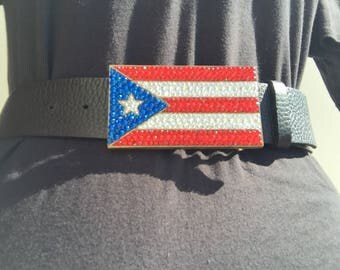 Puerto Rico flag Swarovski encrusted buckle with leather strap.