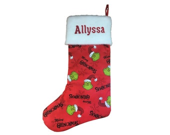 The Grinch Christmas Stocking (with or without personalization)
