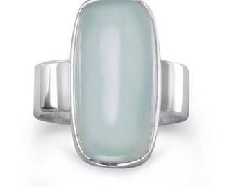 Sterling silver and chalcedony ring