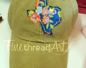 LADIES Floral Applique State Baseball Cap Hat LEATHER strap Flower Floral South Pigment Dyed Louisiana Texas North Carolina Georgia New York