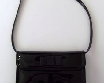 Vintage 60's Purse Shoulder Bag Cutch in Black Patent  with Bow Convertible