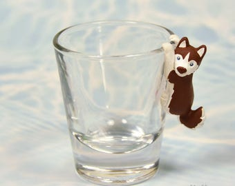 Hand Sculpted Red Siberian Husky Dog 1.5 oz Shotglass