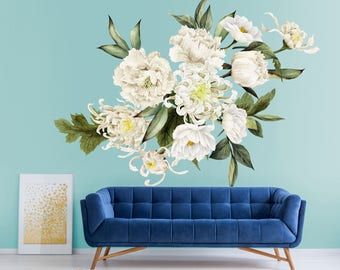 Large Floral Wallpaper Mural - Removable Wallpaper - Floral Watercolor Wall Mural - Peel and Stick Wallpaper Mural - Floral Mural