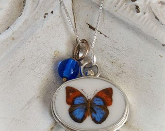 Butterfly Petite Broken China Jewelry Oval Pendant Necklace