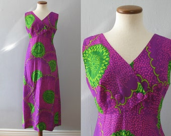 purple hawaiian dress - 60s vintage Malihini bright psychedelic floral print green long full skirt tiki boho hippie loose slouchy muumuu