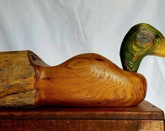 Hand Carved Fence Post Decorative Duck Decoy Folk Art