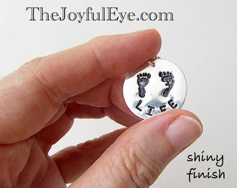 Pro Life Charm in Fine Silver,  Baby Footprints, Precious Feet, Right to Life Jewelry, Christian Silver Charm