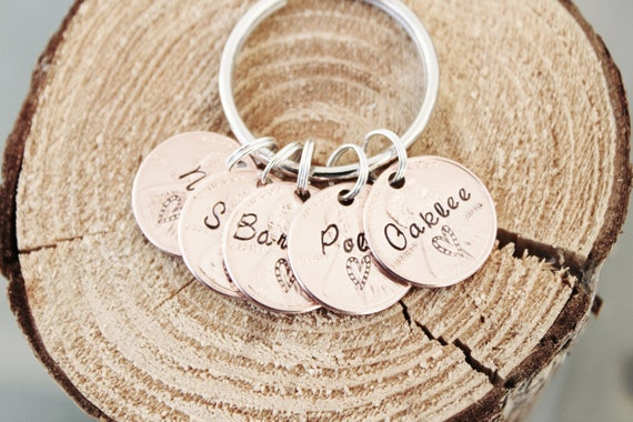 Hand Stamped 5 Penny Key Chain Charm Custom Name Penny Years 1950 to 2018 Date Lucky Personalized Family Keychain