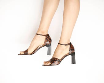 Amanda Smith Geometric Snake Print Brown Heel