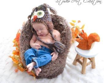 Baby Hat  - Owl Costume Hat - Brown Owl Hat - Baby Costume Hat - Woodland Photo Prop Hat - Owl Photo - Newborn Hat  - by JoJosBootique