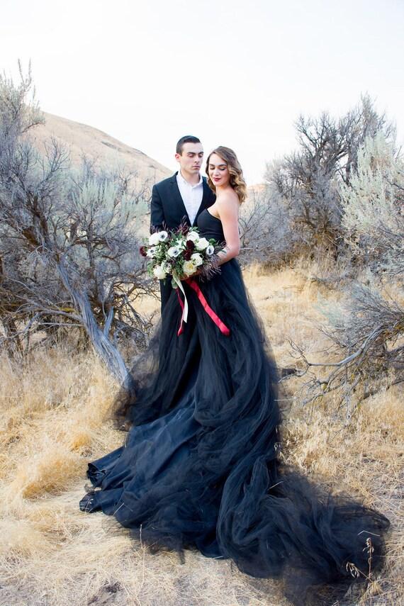 Black Wedding Dress Tulle Skirt Train TWILIGHT