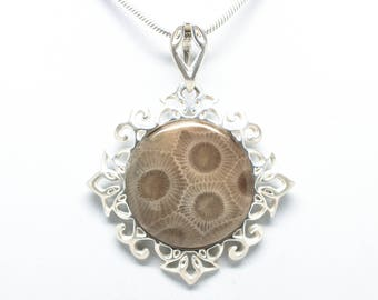 Sterling Silver 20mm Petoskey Stone Pendant
