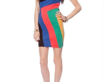 Abstract Wide Line Art Blue, Orange-Red, Green, Mustard Yellow And Black Strapless Bodycon Dress