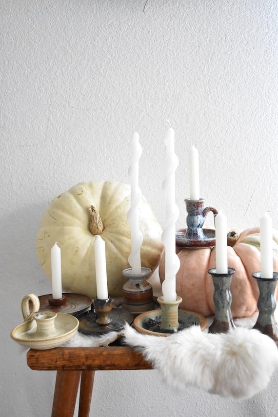 beautiful multicolored hand thrown stoneware glazed candleholder / candlestick holder / 1 holder