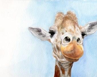 Giraffe Portrait Watercolor Print