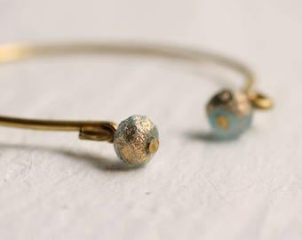Seafoam Glass Bracelet ... Vintage Seaglass Cuff Bangle