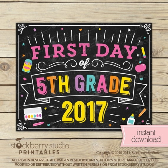 Girl First Day of 5th Grade Sign First Day of School Sign