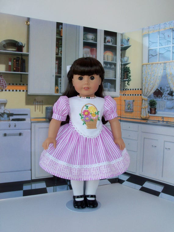 """18"""" Size/ Embroidered  Candy Shoppe Dress Fits American Girl Samantha or Other 18"""" Dolls"""