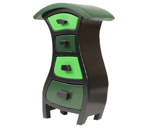 """Wooden Jewelry Box, Stained - Paul Szewc, Solid Ash, Potbelly 237, Dark Green Top/Black Body  10-1/2""""h x 6-5/16""""w x 3-7/8""""d"""