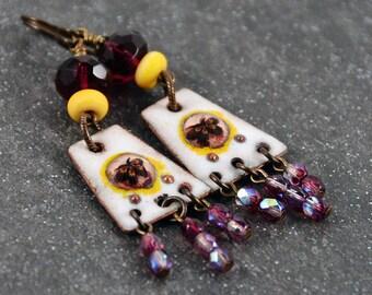 Copper Enameled Fuchsia Earrings Burgundy Yellow Antique Brass Wirewrapped Earrings