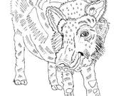 limited edition friendly hog illustration art print