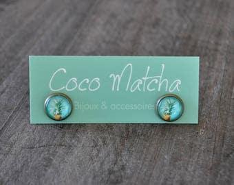 Clous fantaisie - Mini stud earrings - 10 mm - Ananas - Aqua - Pineapple earrings - Coco Matcha