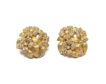 Alice Caviness Vintage Rhinestone Flower Earrings