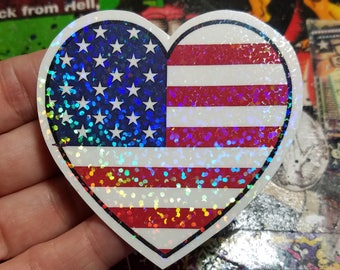 Holographic Sticker - American Flag heart