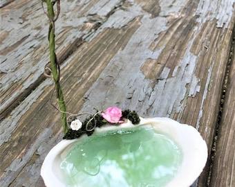 Fairy Garden SHELL BATH with SHOWER Miniature Furniture Bird Bath Terrarium Accessory