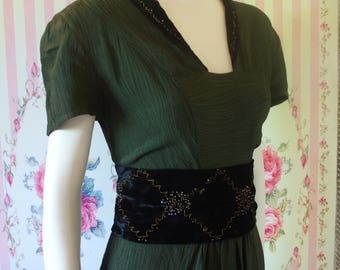 Stunning Vintage 1930s 1940s Beaded Floor Length Evening Gown & Matching Sash S Small 26 27 Waist