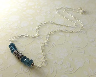 London Blue Topaz Necklace, Semi Precious,  Blue Gemstone, Topaz Necklace, Blue Stone Necklace, Sterling Silver