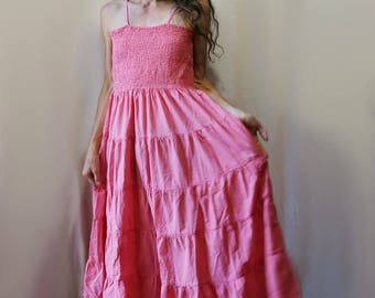 SALE // Indian Cotton Dress // Shirred Bodice, Tiered Skirt // Blossom Pink, One Size