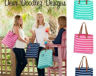 Personalized Monogrammed Embroidered Mint and Hot Pink Striped Tote Bag