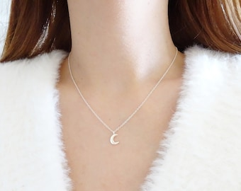 Silver Moon Necklace, Tiny  Sterling Silver Moon Necklace, Crescent Moon Necklace, Dainty Necklace, Simple Necklace, Dainty Necklace