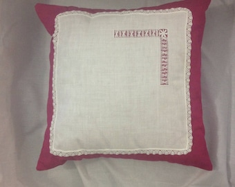 Decorative Red and White Pillow: Red Hanky Panky #1