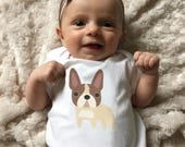 French Bulldog baby clothes, baby bodysuit for baby boy or baby girl, long or short sleeve, 3 months - 18 months, baby shower gift