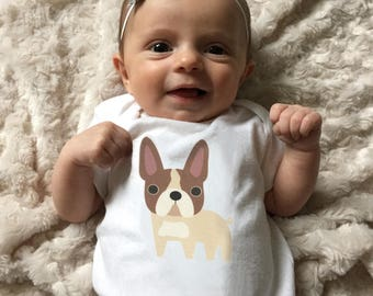 French Bulldog baby clothes, baby bodysuit, baby boy clothes, baby girl clothes, baby gift