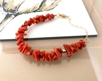 Gold Natural Mediterranean Coral Bracelet