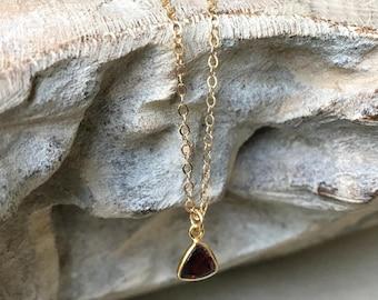 Garnet Necklace, Garnet Necklace Gold, Gold Garnet Necklace, Gold Garnet Triangle Necklace, Garnet Triangle, Garnet