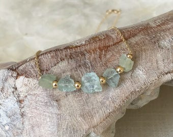Rough Aquamarine Necklace in Gold or Silver