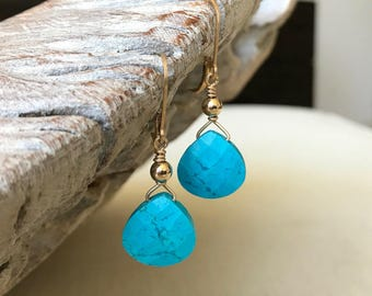 Turquoise Earrings, Turquoise Tear Drop Earrings, Turquoise Tear Drop Earrings in Gold or Silver, Turquoise Drops, Reconstituted Turquoise