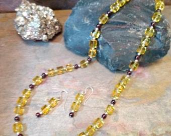 SET: CITRINE & GARNET, Sterling Silver Necklace and Earring Set