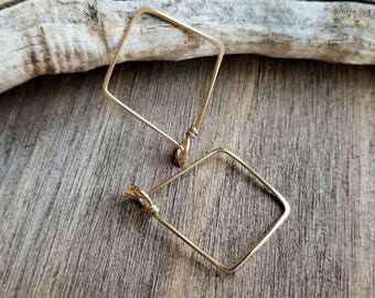 Triangle Hoop Earrings, 14k Gold Filled Jewelry, Geometric Hoops, Everyday Earrings, Light Weight - Handmade