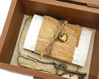 5th Anniversary gift, Wood anniversary gift for him, Vow renewal, Personalized Love Letter and a Key to My Heart, Memory Box