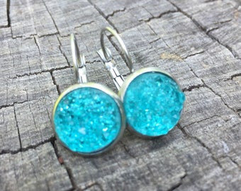 Turquoise Druzy Leverbacks . Earrings