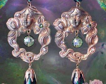 """Emerald Green Art Nouveau Woman Goddess Earrings, Antiqued Brass 4"""" Long Gypsy Dangle Earrings, Long Hair Fairy Jewelry"""