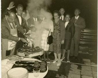 "Vintage Photo ""After Hours Barbecue"" Snapshot Antique Black & White Photograph Found Paper Ephemera Vernacular Interior Design Mood - 51"