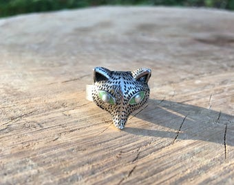 Fox ring, green-eyed fox ring, statement ring, animal jewelry, silver plated adjustable ring, fox lover gift, gift for her, present for mom