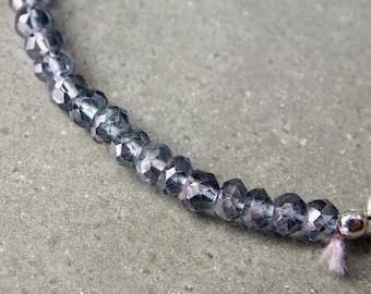 Mystic Blue Quartz, Sterling Silver & Silk Bracelet, Gemstone Beaded Bracelet, Quartz Bracelet, Sterling Silver Bracelet
