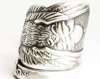 Wide Phoenix Rising Ring, Sterling Silver Spoon Ring, Handmade Jewelry, Phoenix Wings, Pheonix, Gift for Him or Her, Adjustable Ring (7032)